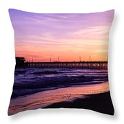 Newport Beach Pier Sunset In Orange County California Throw Pillow by Paul Velgos