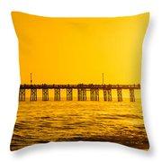 Newport Beach Pier Sunset Panoramic Photo Throw Pillow