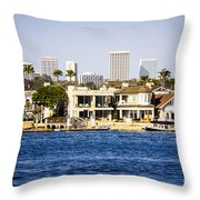 Newport Beach Skyline And Waterfront Homes Picture Throw Pillow by Paul Velgos