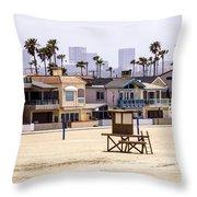 Newport Beach Skyline And Waterfront Luxury Homes Throw Pillow