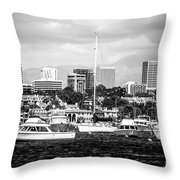 Newport Beach Skyline Black And White Picture Throw Pillow by Paul Velgos