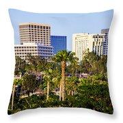 Newport Beach Skyline Picture Throw Pillow