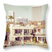 Newport Beach Skyline Vintage Panorama Throw Pillow