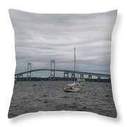 Newport Bridge With Newport Harbor Light Throw Pillow