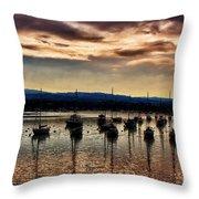 Newport Harbor At Dusk Throw Pillow