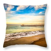 Newport Pier Photo In Newport Beach California Throw Pillow by Paul Velgos