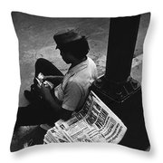 Newspaper Boy Mexico City D.f. Mexico 1970 Throw Pillow