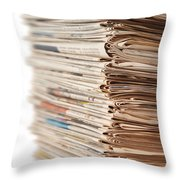 Newspaper Stack Throw Pillow