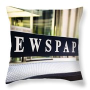 Newspapers Stand Sign In Chicago Throw Pillow by Paul Velgos