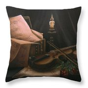 Next To Bach's Musical Scores Throw Pillow
