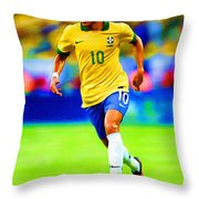 Neymar Soccer Football Art Portrait Painting Throw Pillow