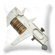 ng Pennies For Savings On White Background Throw Pillow