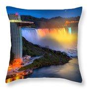 Niagara American Falls At Night Throw Pillow