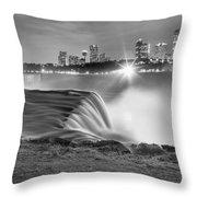 Niagara Falls Black And White Starbursts Throw Pillow