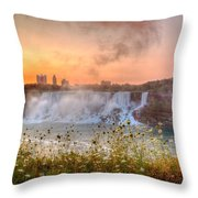 Niagara Falls Canada Sunrise Throw Pillow