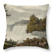 Niagara Falls Circa 1829 Throw Pillow by Aged Pixel