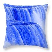 Niagara Falls Closeup In Blue Throw Pillow
