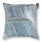 Niagara Falls Contour Drawing Effect Throw Pillow