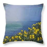 Niagara Falls Daffodils Throw Pillow