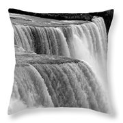 Niagara Falls In Black And White Throw Pillow