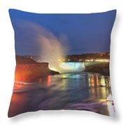 Niagara Falls Night Lights Panorama Throw Pillow