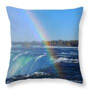 Niagara Falls Rainbow Throw Pillow