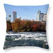 Niagara Falls Skyline From New York Throw Pillow