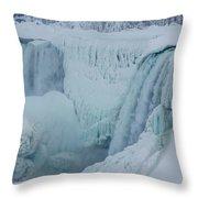 Niagara Falls Usa In Winter Throw Pillow