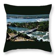 Niagara River And Goat Island Aerial View Throw Pillow