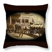 Niagra Carting Wagon Extras The Great White Hope Set Globe Arizona 1969-2014 Throw Pillow