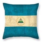 Nicaragua Flag Vintage Distressed Finish Throw Pillow