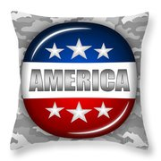 Nice America Shield 2 Throw Pillow by Pamela Johnson