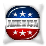 Nice America Shield Throw Pillow by Pamela Johnson