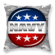Nice Navy Shield 2 Throw Pillow