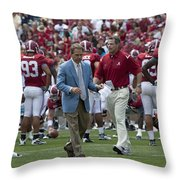 Nick Saban And The Tide Throw Pillow