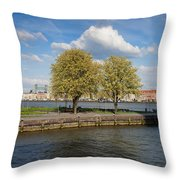 Nieuwe Maas River Waterfront In Rotterdam Throw Pillow