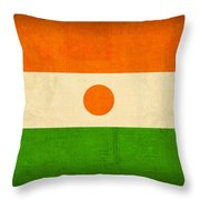 Niger Flag Vintage Distressed Finish Throw Pillow