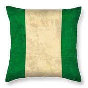 Nigeria Flag Vintage Distressed Finish Throw Pillow