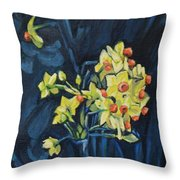 Night And Flowers Throw Pillow
