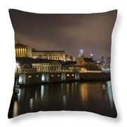 Night At Fairmount Waterworks And The Philadelphia Art Museum Throw Pillow