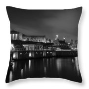 Night At Waterworks In Black And White Throw Pillow