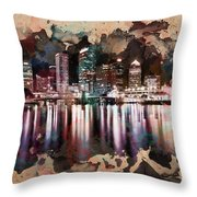Night City Reflections Watercolor Painting Throw Pillow