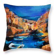 Night Colors Over Riomaggiore - Cinque Terre Throw Pillow