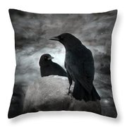 Mysterious Night Crows Throw Pillow