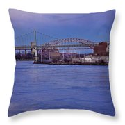 Night Descends Over The Triboro Bridge - Nyc Throw Pillow