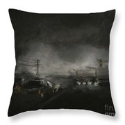 Night Driving - Stanhope Parkway Throw Pillow