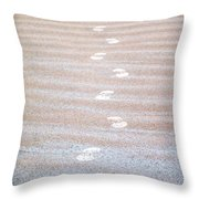 Night Beach Sand Footprints Throw Pillow