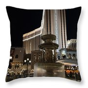 Night Glow At The Venetian Las Vegas Throw Pillow
