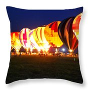 Night Glow Hot Air Balloons Throw Pillow