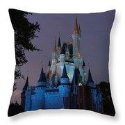 Night Illuminates Cinderella Castle Throw Pillow